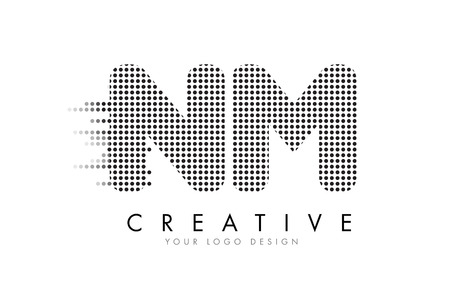 NM N M Letter Logo Design with Black Dots and Bubble Trails.