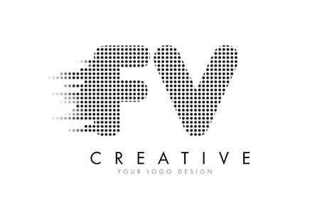 fv: FV F V Letter Logo Design with Black Dots and Bubble Trails.