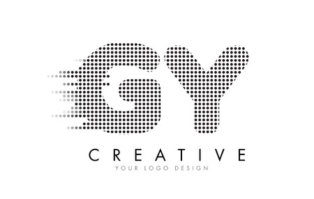 GY G Y Letter Logo Design with Black Dots and Bubble Trails.