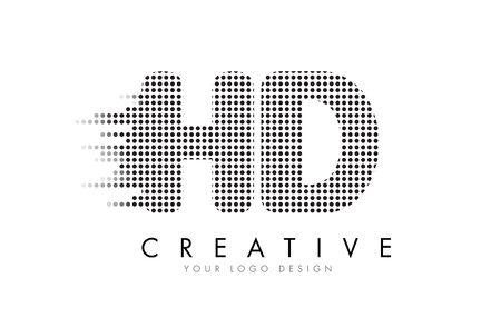 d: HD H D Letter Logo Design with Black Dots and Bubble Trails. Illustration