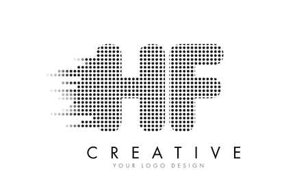 hf: HF H F Letter Logo Design with Black Dots and Bubble Trails.