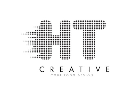 HT H T Letter Logo Design with Black Dots and Bubble Trails.