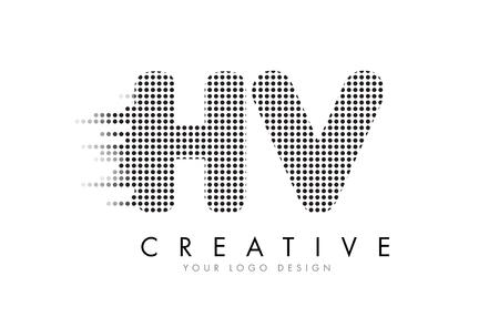 HV H V Letter Logo Design with Black Dots and Bubble Trails. Logó