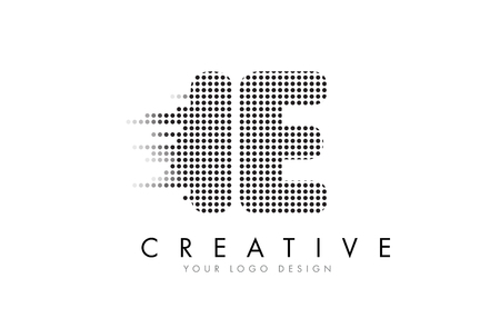 IE I E Letter Logo Design with Black Dots and Bubble Trails. Çizim