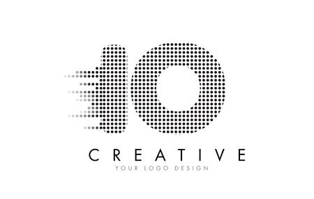 IO I O Letter Logo Design with Black Dots and Bubble Trails.