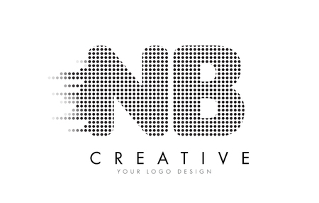 NB N B Letter Logo Design with Black Dots and Bubble Trails.