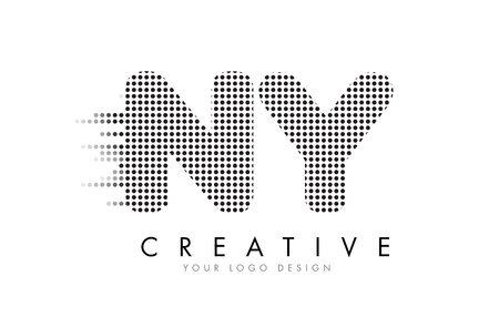 ny: NY N Y Letter Logo Design with Black Dots and Bubble Trails. Illustration