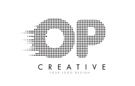 OP O P Letter Logo Design with Black Dots and Bubble Trails. Banco de Imagens - 76866950