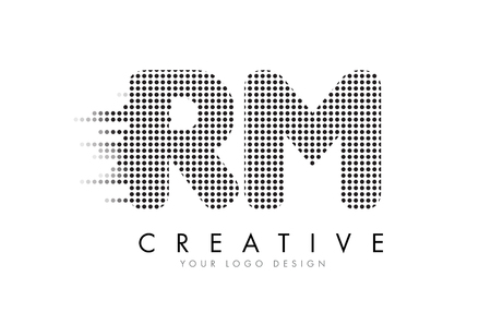 RM R M Letter Logo Design with Black Dots and Bubble Trails. Illustration