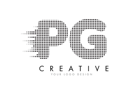 PG P G Letter Logo Design with Black Dots and Bubble Trails. Illustration