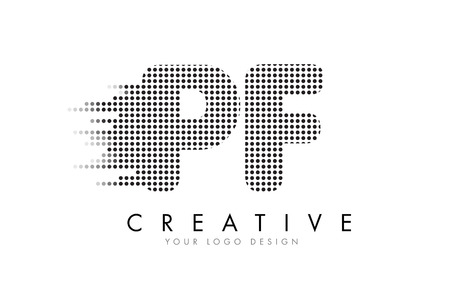 PF P F Letter Logo Design with Black Dots and Bubble Trails.