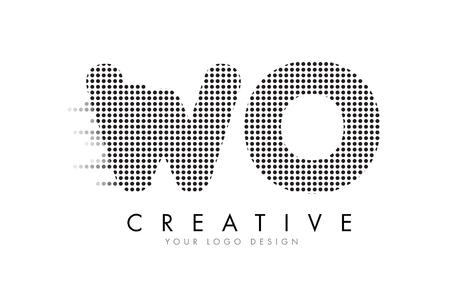 WO W O Letter Logo Design with Black Dots and Bubble Trails.