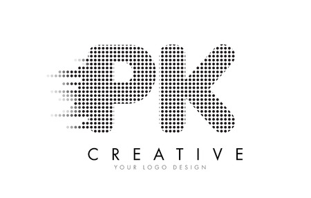 PK P K Letter Logo Design with Black Dots and Bubble Trails.