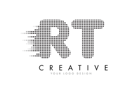 RT R T Letter Logo Design with Black Dots and Bubble Trails.