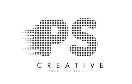 PS P S Letter Logo Design with Black Dots and Bubble Trails.