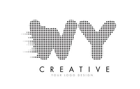 와이드 WY 편지 로고 디자인 블랙 도트와 버블 트레일.
