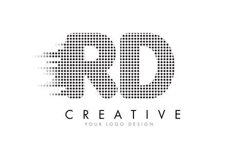 rd: RD R D Letter Logo Design with Black Dots and Bubble Trails.