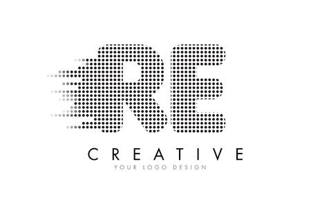 RE RE Letter Logo Design z czarnymi kropkami i szlakami bąbelkowymi.