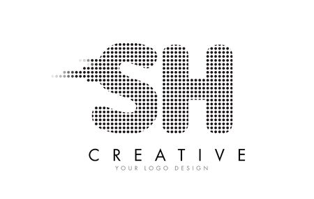 sh: SH S H Letter Logo Design with Black Dots and Bubble Trails.