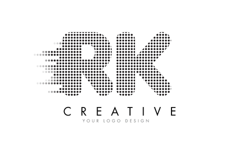 RK R K Letter Logo Design with Black Dots and Bubble Trails.