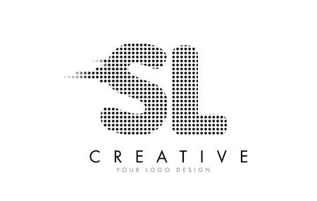 SL S L Letter Logo Design with Black Dots and Bubble Trails.