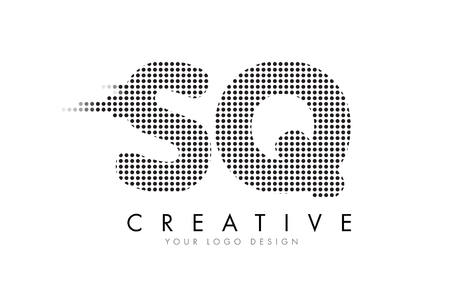 SQ S Q Letter Logo Design with Black Dots and Bubble Trails.