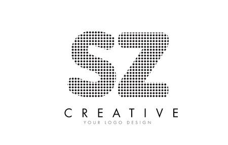 SZ S Z Letter Logo Design with Black Dots and Bubble Trails.