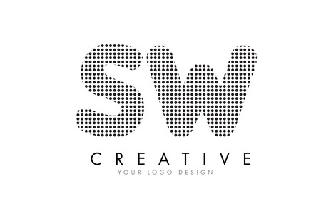 黒いドットとバブルの軌跡 SW S W 文字ロゴ デザイン。