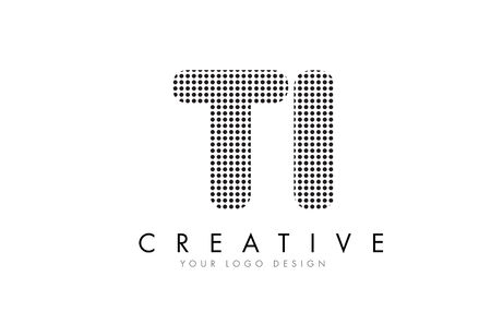 TI T I Letter Logo Design with Black Dots and Bubble Trails.