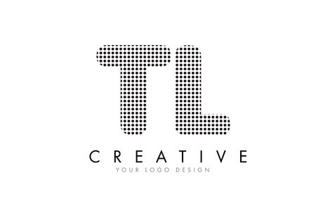 TL T L Letter Logo Design with Black Dots and Bubble Trails.