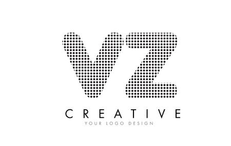 VZ V Z Letter Logo Design with Black Dots and Bubble Trails. Logó