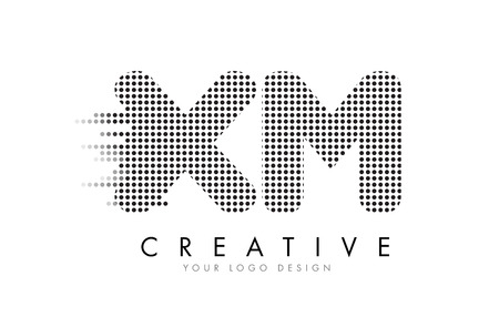 xm: XM X M Letter Logo Design with Black Dots and Bubble Trails.