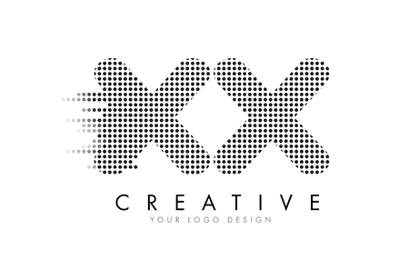 XX X X Letter Logo Design with Black Dots and Bubble Trails.