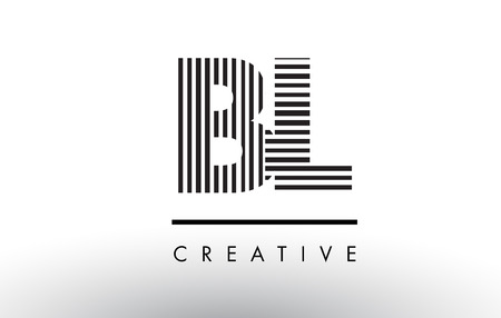bl: BL B L Black and White Letter Logo Design with Vertical and Horizontal Lines. Illustration