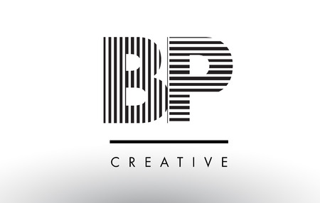 BP B P Black and White Letter Logo Design with Vertical and Horizontal Lines.