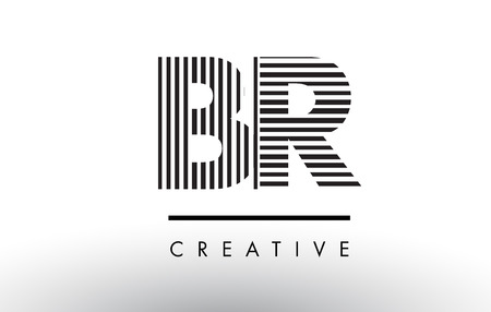 br: BR B R Black and White Letter Logo Design with Vertical and Horizontal Lines.