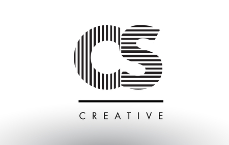 CS C S Black and White Letter Logo Design with Vertical and Horizontal Lines.