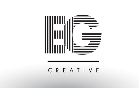 EG E G Black and White Letter Logo Design with Vertical and Horizontal Lines.