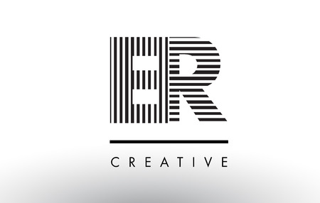 er: ER E R Black and White Letter Logo Design with Vertical and Horizontal Lines.
