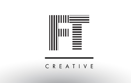 FT F T Black and White Letter Logo Design with Vertical and Horizontal Lines.