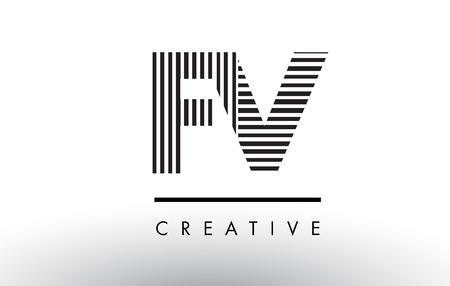 fv: FV F V Black and White Letter Logo Design with Vertical and Horizontal Lines. Illustration