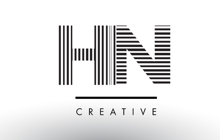 hn: HN H N Black and White Letter Logo Design with Vertical and Horizontal Lines.