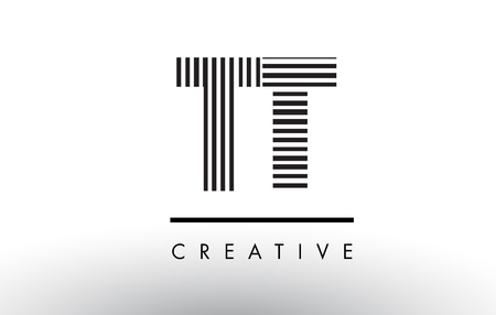 TT T Black and White Letter Logo Design with Vertical and Horizontal Lines.