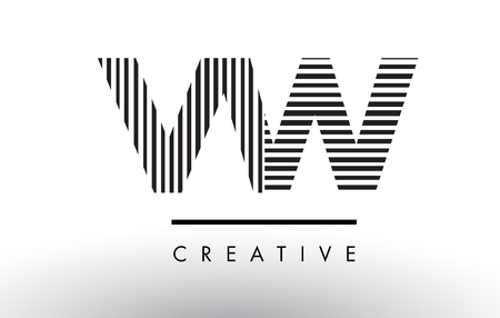 vw: VW V W Black and White Letter Logo Design with Vertical and Horizontal Lines.