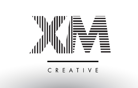 xm: XM X M Black and White Letter Logo Design with Vertical and Horizontal Lines.