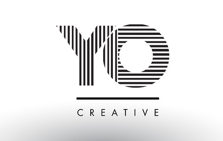 YO Y O Black and White Letter Logo Design with Vertical and Horizontal Lines.