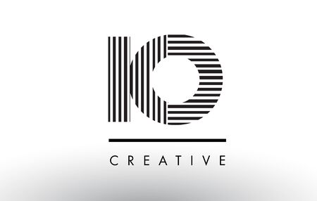 IO I O Black and White Letter Logo Design with Vertical and Horizontal Lines.