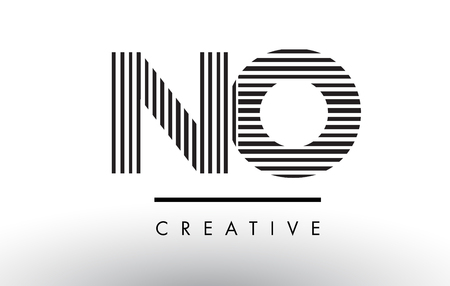 NO N O Black and White Letter Logo Design with Vertical and Horizontal Lines.