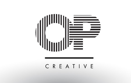 OP O P Black and White Letter Logo Design with Vertical and Horizontal Lines.