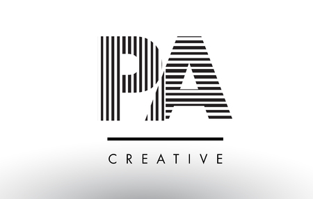 PA P A Black and White Letter Logo Design with Vertical and Horizontal Lines. Illustration